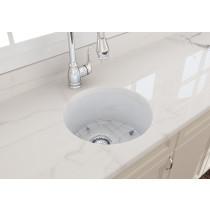 """BOCCHI 1361-001-0120 White Round Undermount Fireclay 18.5"""" Kitchen Sink"""