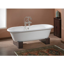 Cheviot 2128-WW-0 White Cast Iron Bathtub with Wooden Base and Flat Area on Rim