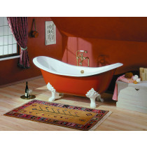 """Cheviot 2150-BB-..-6 Regency Biscuit Cast Iron Bathtub with Lion Feet and 6"""" Drilling Flat Area"""