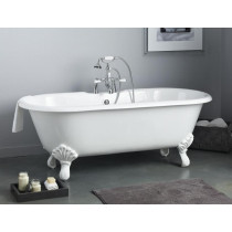 Cheviot 2171-WW White Bathtub with Continuous Rolled Rim & Shaughnessy Feet