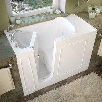MediTub 2653LWH Walk-In 26 x 53 Left Drain White Whirlpool Jetted Bathtub