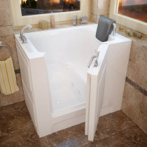 MediTub 2739LWH Walk-In 27 x 39 Left Drain White Whirlpool Jetted Bathtub
