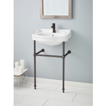 Cheviot 350-22-WH-1-575-AB Antique Single Bowl Lavatory Sink with Antique Bronze Console