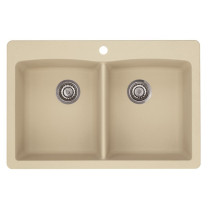 Blanco 441217 Diamond Equal Double Bowl SILGRANIT Drop In Kitchen Sink in Biscotti