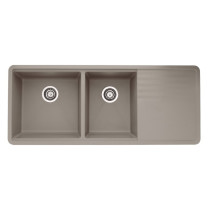 Blanco 441292 Precis Multilevel Double Bowl Undermount Kitchen Sink with Drainer in Truffle