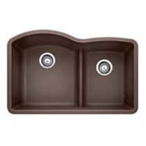 Blanco 441597 Diamond 1 3/4 Low Divide Double Bowl Undermount Kitchen Sink in Cafe Brown