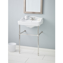 Cheviot 553-WH-8-575-PN Essex Lavatory Sink in White with Polished Nickel Console