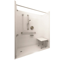 Ella's Bubbles 6033 BF 5P 1.0 L-WH DLX Deluxe Roll In Shower System