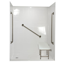 Ella's Bubbles 6033 BF 5P 1.0 L-WH SP36 Standard Plus Roll In Shower System