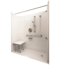 Ella's Bubbles 6033 BF 5P 1.0 R-WH DLX Deluxe Roll In Shower System