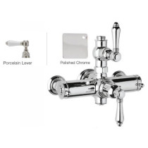 Rohl A4917LPAPC Country Bath Porcelain Lever Handles Exposed Thermostatic Shower in Polished Chrome