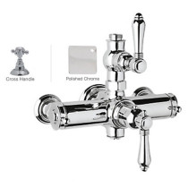 Rohl A4917XMAPC Country Bath Metal Cross Handles Exposed Thermostatic Shower in Polished Chrome