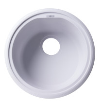 "ALFI brand AB1717DI-W White 17"" Drop-In Round Granite Kitchen Prep Sink"