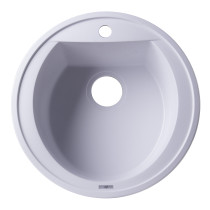 "ALFI brand AB2020DI-W White 20"" Drop-In Round Granite Kitchen Prep Sink"