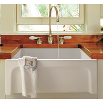 ALFI brand AB2418ARCH-W White Arched Apron Thick Wall Fireclay Farm Sink