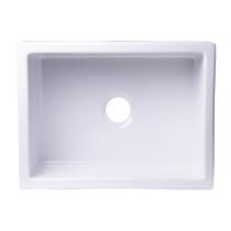 """ALFI brand AB2418UM-W  24"""" x 18"""" Undermount White Fireclay Kitchen Sink"""
