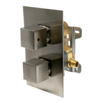 ALFI brand AB2601-BN Brushed Nickel Knob 1 Way Thermostatic Shower Mixer