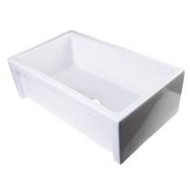 ALFI brand AB3018ARCH-W White Arched Apron Thick Wall Fireclay Farm Sink