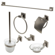ALFI brand AB9509-BN Brushed Nickel 6 Piece Matching Bathroom Accessory Set