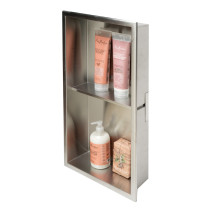 ALFI brand ABN1224-BSS Brushed Stainless Vertical Double Shelf Shower Niche