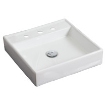 American Imagination AI-1121 Wall Mount Square Vessel In White Color For 8-in. o.c. Faucet