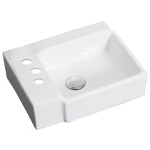 American Imagination AI-1304 Wall Mount Rectangle Vessel In White Color For 4-in. o.c. Faucet