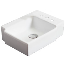American Imagination AI-1308 Wall Mount Rectangle Vessel In White Color For 4-in. o.c. Faucet