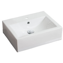American Imagination AI-685 Wall Mount Rectangle Vessel In White Color For Single Hole Faucet