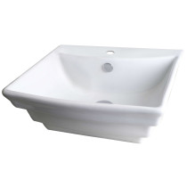 American Imagination AI-689 Wall Mount Rectangle Vessel In White Color For Single Hole Faucet