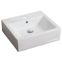 American Imagination AI-690 Wall Mount Rectangle Vessel In White Color For Single Hole Faucet
