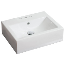 American Imagination AI-691 Wall Mount Rectangle Vessel In White Color For 4-in. o.c. Faucet