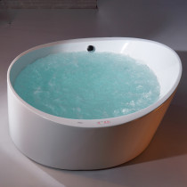 EAGO AM2130 66 Inch Round Free Standing Acrylic Air Bubble Bathtub