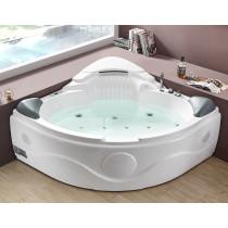 EAGO AM505ETL 5 ft Corner Acrylic White Waterfall Whirlpool Bathtub for Two