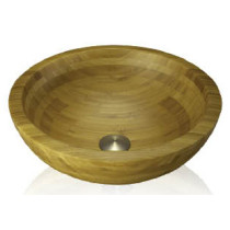 Lenova BAC-01 Bamboo Round Bathroom Sink Above Counter Sink Diameter 16 1/2