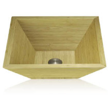 Lenova BAC-03 Bamboo Square Bathroom Sink Above Counter 16 3/4 X 16 3/4