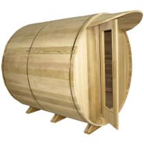 SaunaCore BRL6X6-WS Outdoor Barrel Shaped Sauna Room With Wood Burning Heater