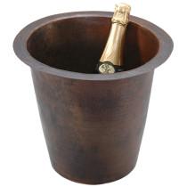 Premier Copper BR12WDB 12 Inch Round Hammered Copper Champagne Bar/Prep Sink