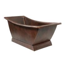 Premier Copper BTSC67DB 67 Inch Hammered Copper Canoa Single Slipper Bathtub
