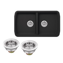 Cahaba CA324133-B Quartz Kitchen Sink in Black With Twist & Lock Strainer