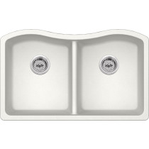 Cahaba CA3241E33-A 2 Bowl Kitchen Sink in Alpine w/ Twist and Lock Strainer