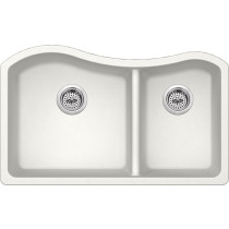 Cahaba CA324233-A Quartz 60/40 Double Bowl Kitchen Sink in Alpine w/ Twist