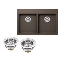 Cahaba CA344133-M Kitchen Sink in Mocha Brown With Twist and Lock Strainer