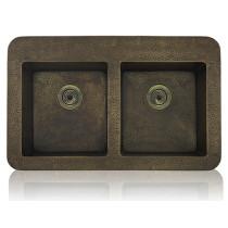 Lenova CT-100 Copper Sink Apron Front Equal Double Bowl 15 Gauge35 X 22