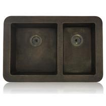 Lenova CT-101 Copper Sink Apron Front Unequal Double Bowl 15 Gauge 35 X 22