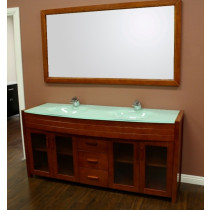"Design Element DEC016B-2 Waterfall 72"" Double Sink Vanity Set in Honey Oak"