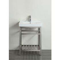 """Eviva EVVN08-24SS Stone® 24"""" Bathroom Vanity Stainless Steel with White Integrated Porcelain Top"""