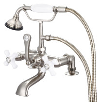 Water Creation F6-0007-02-PX Cross Handle Tub Faucet Includes Handshower