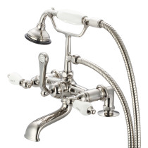 Water Creation F6-0007-05-CL Polished Nickel Deck Mount Bathroom Tub Faucet