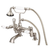 Water Creation F6-0008-02-PL Brushed Nickel with Porcelain Lever Handles