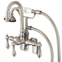 Water Creation F6-0011-02-AL Wall Mounted Tub Faucet in Brushed Nickel With Gooseneck Spout